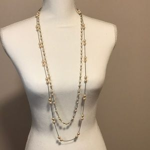 Two tiered blush pink pearl necklace